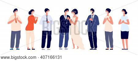 Party In Pandemic. Wedding Group Wear Face Masks, Couple Protected Guests. Safety Bridal Ceremony Wi