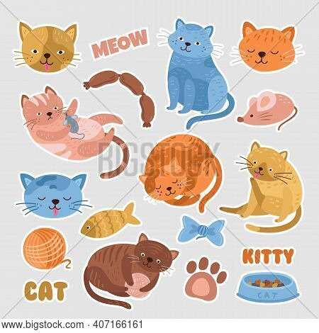 Cat Stickers. Funny Cats, Kitten Badge Or Patch With Cute Elements. Cartoon Characters, Pet Label Fo