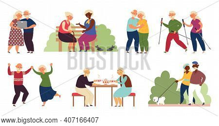 Happy Elderly Activity. Isolated Senior People, Sporting Old Couple. Active Grandparents, Healthy De