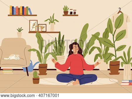 Girl Relaxed In Home Garden. Recreation Time, Young Happy Female Character And Plants In Pots. Woman