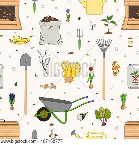 Seamless Pattern With Organic Waste And Garden Tools. Kitchen Scraps, Composter, Sack With Compost.