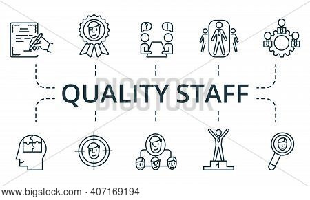 Quality Staff Icon Set. Collection Contain Pack Of Pixel Perfect Creative Icons. Quality Staff Eleme