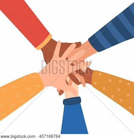Hands Of Diverse Group Of People Putting Together. Concept Of Cooperation, Togetherness, Teamwork. F