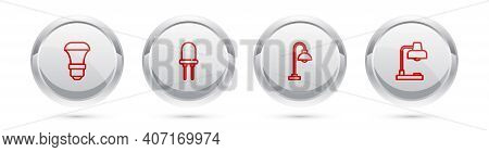 Set Line Led Light Bulb, Light Emitting Diode, Floor Lamp And Table. Silver Circle Button. Vector