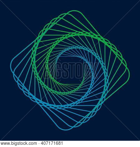 Twisted Colored Spiral. Curved Wireframe Tunnel. Vector Logo Element.