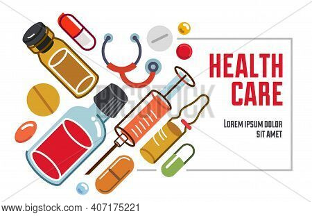 Pharmacy Apothecary Drugstore Flyer, Big Composition Set Of Medicaments Vector Flat Illustration Iso