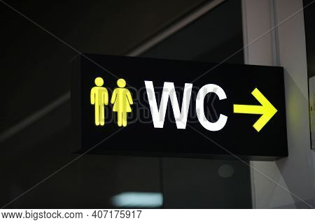 Toilet Icons Set. Men And Women Wc Signs For Restroom.sign On A Toilet ,on Modern Background.toilet