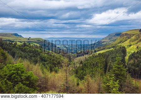 view on Glenariff known as Queens of the Glens and the biggest of the nine Glens of Antrim, County Antrim, Northern Ireland, UK