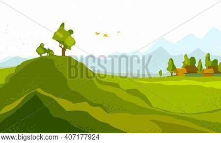 Beautiful Scenic Nature Landscape Vector Illustration Summer Or Spring Season With Grasslands Meadow