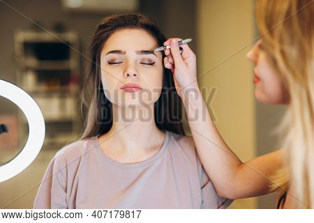 Close-up Of A Woman With Brown Hair Getting Makeup. Makeup Brush Near The Face. Makeup Artist Makes
