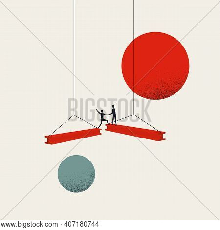 Business Teamwork And Cooperation, Vector Concept. Symbol Of Help, Opportunity, Investment.