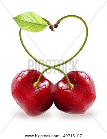 Heart symbol cherry isolated on white background