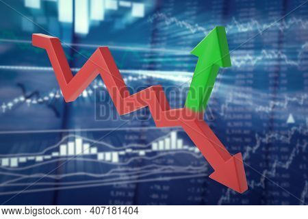 Bifurcating Red-green Arrow On A Blurred Background Of Stock Quotes. Unpredictable Trend Reversal Or