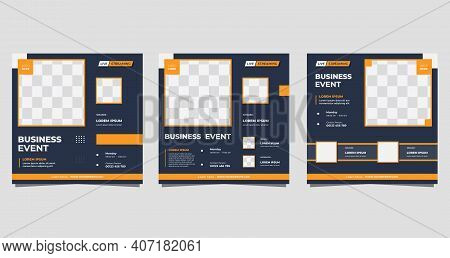 Set Of Social Media Post Template For Business Event, Marketing Webinar, Online Education And Other