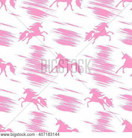 Seamless Pattern With Pink Prancing And Flying Unicorns On A White Background.