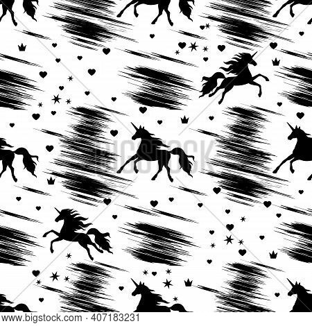 Seamless Monochrome Pattern With Black Prancing And Flying Unicorns, Hearts, Crowns And Stars On A W