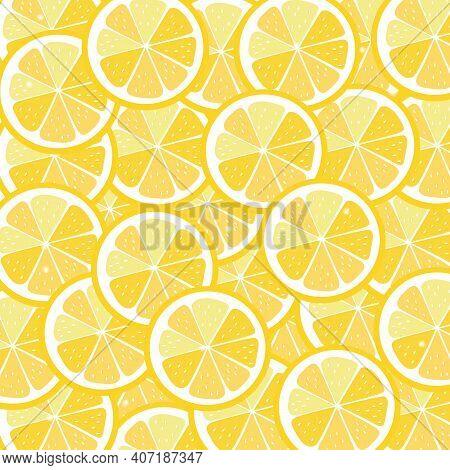 Fresh Lemons Background.seamless Lemon Fruit Pattern Illustration, Yellow Background.decorative Illu
