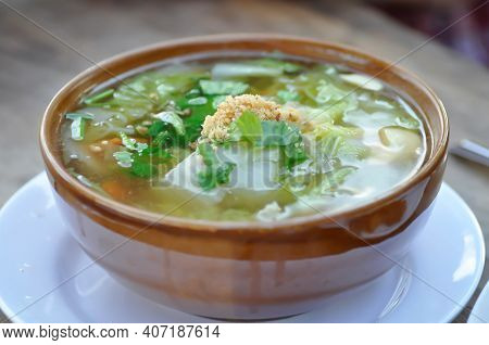 Vegetable Soup, Mixed Vegetable Soup Or Cabbage And Tofu Soup