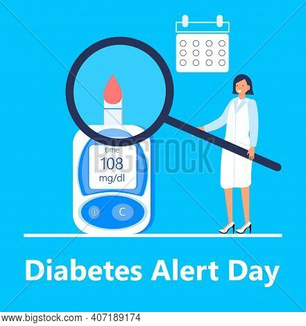 American Association Diabetes Alert Day Concept Vector In Flat Style. Event Is Observed Annually On