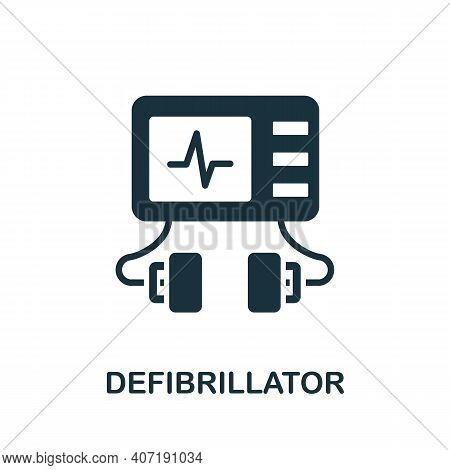 Defibrillator Icon. Simple Element From Medical Services Collection. Filled Monochrome Defibrillator
