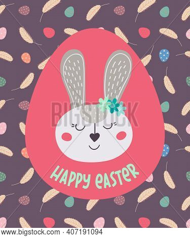 Happy Easter. Greeting Card With Easter Bunny . The Easter Bunny. Vector Illustration. Easter Design