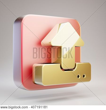 Terminal Icon. Golden Terminal Symbol On Red Matte Gold Plate. 3d Rendered Social Media Icon.