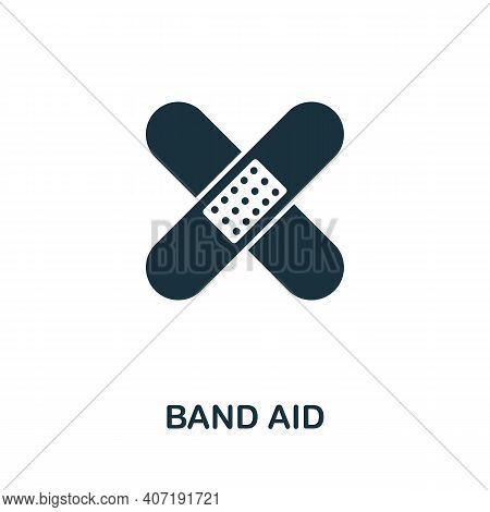 Band Aid Icon. Simple Element From Medical Services Collection. Filled Monochrome Band Aid Icon For