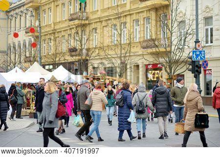 Vilnius, Lithuania - March 7, 2020: People Attending Kaziuko Muge Or Kaziukas, Traditional Easter Ma