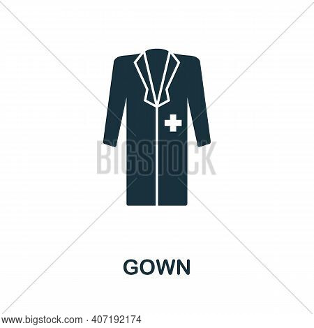 Gown Icon. Simple Element From Medical Services Collection. Filled Monochrome Gown Icon For Template