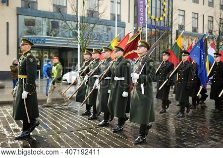 Vilnius, Lithuania - March 11, 2020: Festive Parade As Lithuania Marked The 30Th Anniversary Of Its