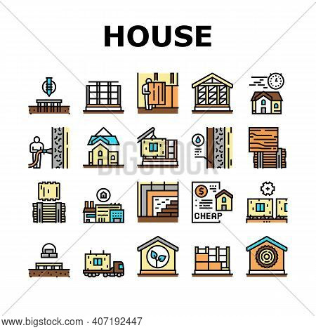 Timber Frame House Collection Icons Set Vector. Pile Screw Foundation And Ecowool Insulation, Wooden