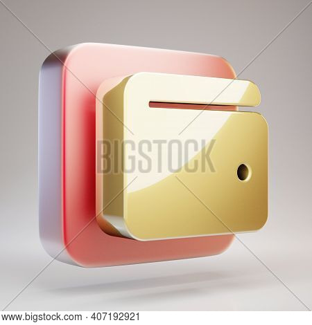 User Icon. Golden User Symbol On Red Matte Gold Plate. 3d Rendered Social Media Icon.