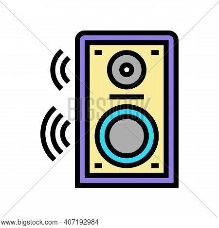 Dynamic Speaker Color Icon Vector. Dynamic Speaker Sign. Isolated Symbol Illustration