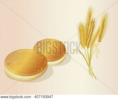 Sesame Buns For Hamburgers And A Bunch Of Wheat Ears