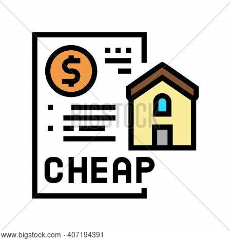 Cheap House Construction Color Icon Vector. Cheap House Construction Sign. Isolated Symbol Illustrat