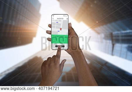 Navigation App. Closeup Of Phone With Gps Navigator Application In Black Female Hands On Urban Citys