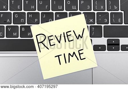 Words On Yellow Stickers Review Time On Keyboard