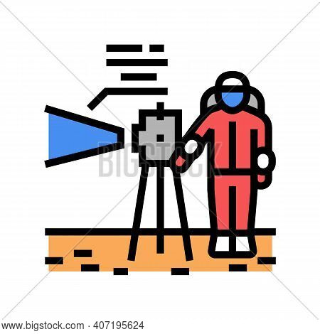 Astronaut Working With Measuring Equipment Color Icon Vector. Astronaut Working With Measuring Equip