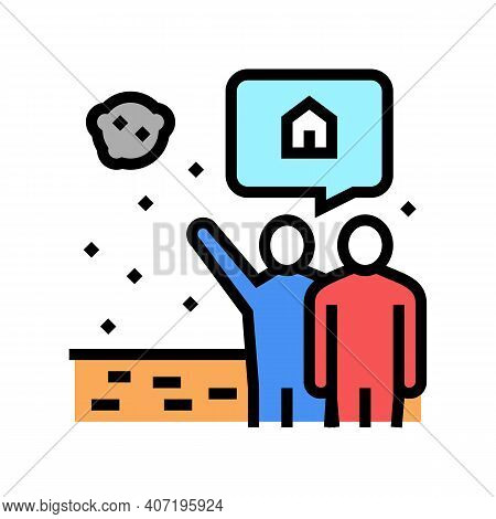 Human Showing Space House In Sky Color Icon Vector. Human Showing Space House In Sky Sign. Isolated