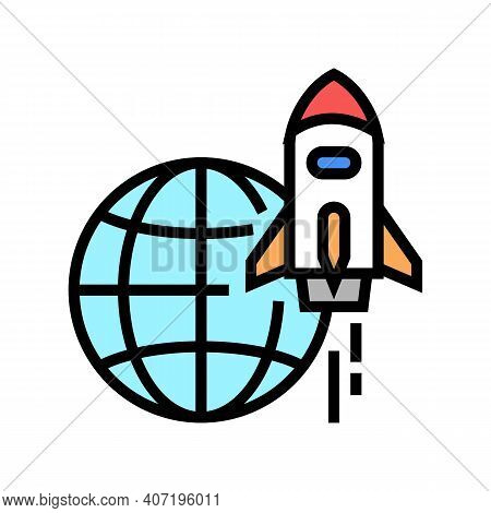 Rocket For Fly On Other Planet, Space Transport Color Icon Vector. Rocket For Fly On Other Planet, S