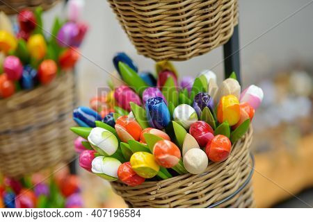 Wooden Tulips Sold On Easter Market In Vilnius. Annual Spring Fair Hold In March On The Streets Of C