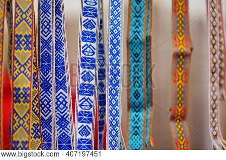 Details Of A Traditional Lithuanian Weave. Woven Belts As A Part Of National Lithuanian Costume Sold