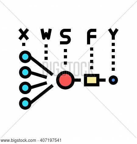 Mathematical Model Neural Network Color Icon Vector. Mathematical Model Neural Network Sign. Isolate