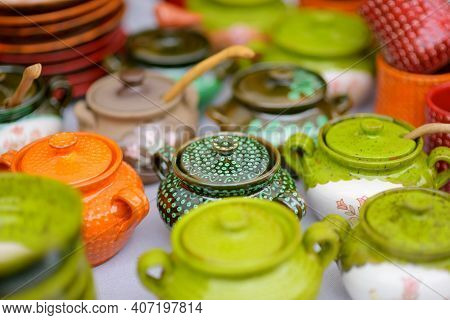 Ceramic Dishes, Tableware And Jugs Sold On Easter Market In Vilnius. Lithuanian Capital's Traditiona