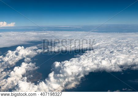 Top View Of Overcast Clouds From Aerial View