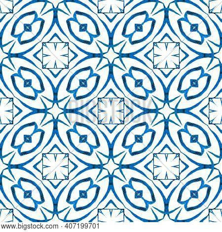 Oriental Arabesque Hand Drawn Border. Blue Cool