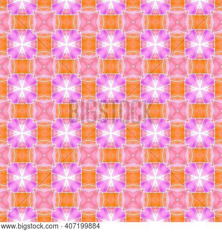 Striped Hand Drawn Design. Orange Divine Boho
