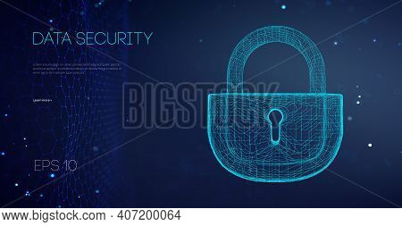 Data Security Binary Lock. Security Cloud Data Attack. Encryption Code Computer Firewall Concept. Al