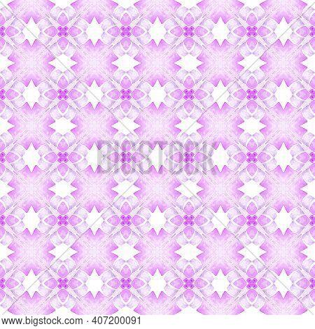 Ikat Repeating Swimwear Design. Purple Rare Boho
