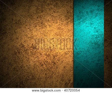brown gold background texture with blue ribbon stripe